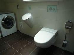 Urinal und Dusch-WC mit flächenbündigen Bedienungen aus Glas